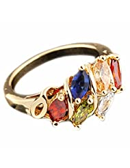 Women Colorful Copper Crystal Rhinestone Ring Gold Plated Diamond Ring Gift bague