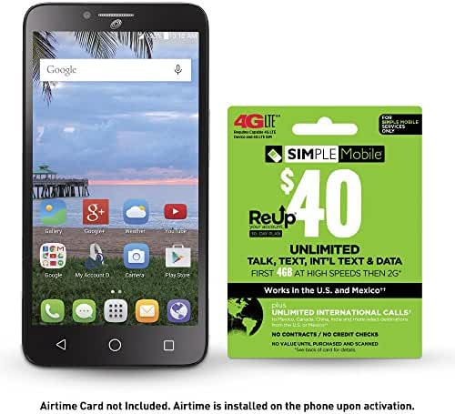 Simple Mobile Alcatel Pixi Glory 4G LTE Prepaid Smartphone with Free $40 Airtime Bundle
