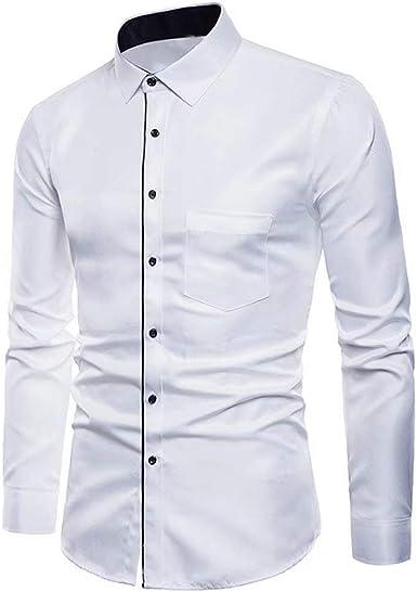 Camiseta De Manga Larga Larga Manga Oxford De para Modernas Casual Hombre Camisas Blusa Camisa De Color Sólido De Solapa Tops De Otoño: Amazon.es: Ropa y accesorios