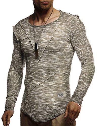 LEIF NELSON Herren Pullover Rundhals-Ausschnitt Slim Fit | Moderner Männer Pulli Sweatshirt Langarm Crew Neck | Herren Hoodie-T-Shirt Langarm in schwarz | LN8053 Khaki LN8182 Large