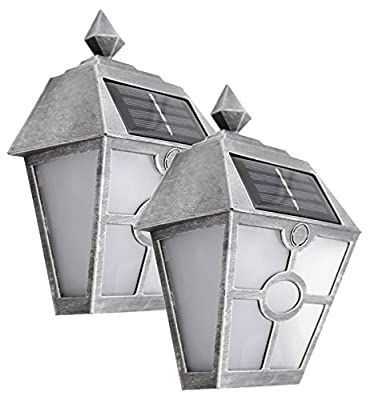 Sogrand Solar Wall Lights Outdoor Deck Lighting LED Porch Light Dock Decorations Waterproof Fence Lights Bright Step Stair Lamp Silver Garage Door Lantern Outside Decor Post Yard Walkway 2Pack
