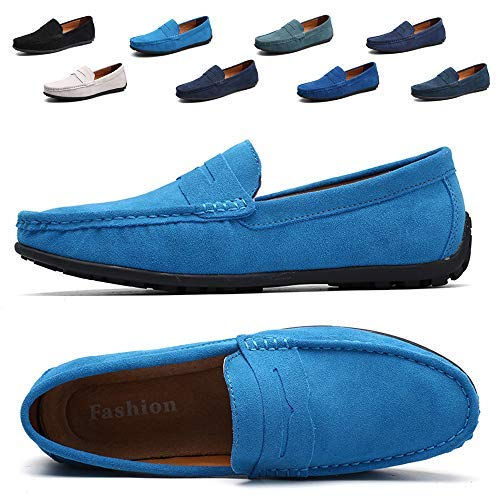 TSIODFO Men's Driving Penny Dress Loafers Suede Leather Driver Moccasins Slip On Shoes (A101-Sky ()