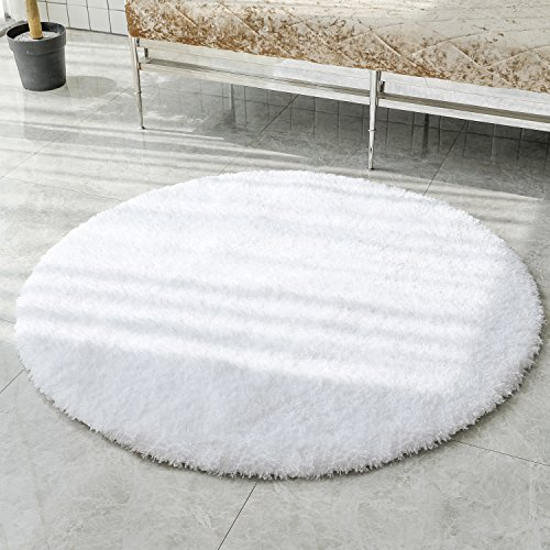 LOCHAS Tufted Shag Collection Living & Bedroom Soft Shaggy Ivory Plush 4' Diameter Round Area Rug