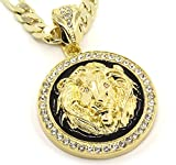 "Mens Gold Tone & Black Lion Face Iced Out Pendant 10mm 30"" Necklace Gold Tone Figaro Style Chain"