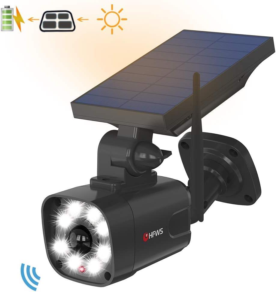Solar Motion Sensor Light Outdoor – 800Lumens 8 LED 5W 110W Equiv. Solar-Powered Flood Light for Porch Garden Driveway Pathway, HFWS-S1-B