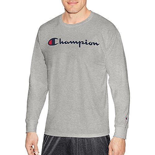 Champion Men's Classic Jersey Long Sleeve Script T-Shirt, Light Steel, Med ()