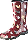Sloggers Women's Rain and Garden Chicken Print Collection Garden Boots, Size 9, Barn Red