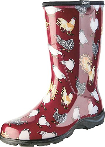 erproof Rain and Garden Boot with Comfort Insole, Chickens Barn Red, Size 9, Style 5016CBR09 ()