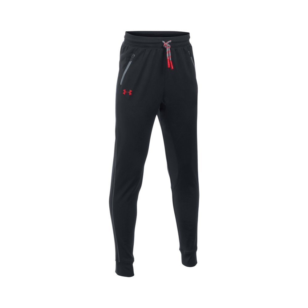 Under Armour Boys' Pennant Tapered Pant, Black/Red, Youth X-Small