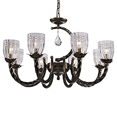 QIRUI Luxury Retro Iron Chandelier Fixture With E12 Lamp Sockets,Ceiling Lighting Holder With Transformer and Lampshade,Decoration for Home Hotel Hall Restaurant 8673