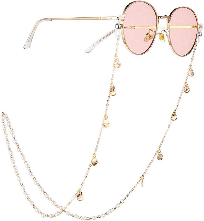 ClookYuan Dekorative Perlen Sonnenbrille Schnur Brillenhalter Mode Brillen Umh/ängeband Brillenketten Brillenschnur Seil Silber /& Transparent
