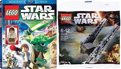 Lego Star Wars: The Padawan Menace Blu-ray DVD Combo with Young Han Solo Lego Figure + Lego Star Wars Kylo Ren's Command Shuttle 30279 Bundle