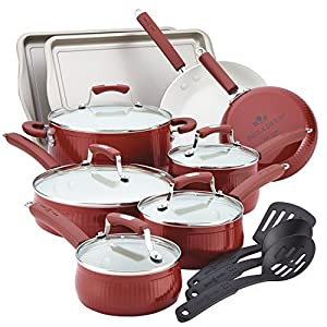 Paula Deen Savannah Collection Aluminum Nonstick 17-Piece Cookware Set, Red