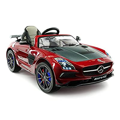 Carbon Red SLS AMG Mercedes Benz Car for Kids, 12V Powered Kids Ride On Car, Leather Seat, LED Lights, Parental Remote, Built-in LCD Touch Screen TV Dashboard, Stroller Seatbelt: Toys & Games