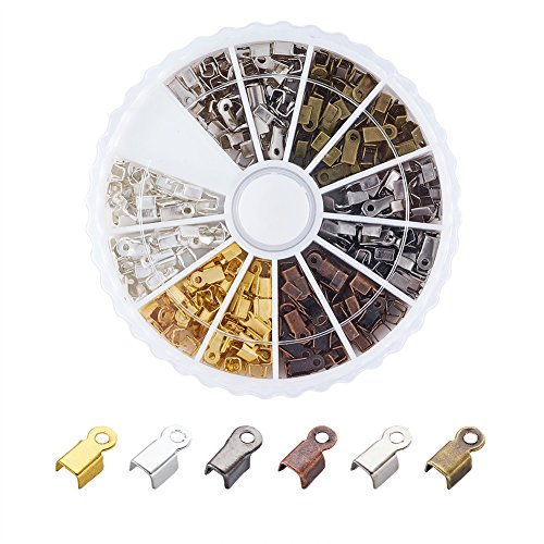 Pandahall 420pcs/box 6 Color Iron Fold Over Crimp Cord Ends Terminators Clamp End Tips with Loop for 3mm Thick Leather Silk Ribbon Jewelry Findings 6x3mm IFIN-X0016-B