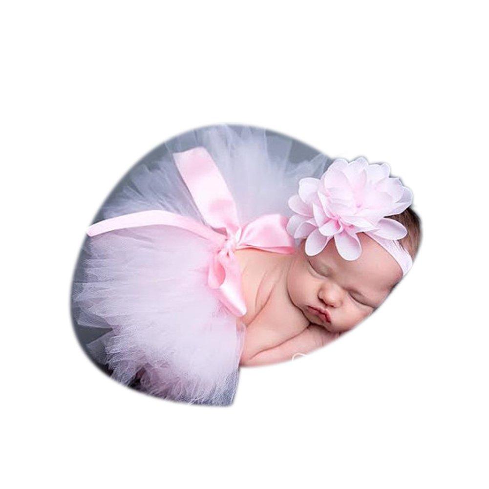Binlunnu Newborn Baby Photography Props Boy Girl Crochet Costume Outfits Tutu Skirt Headdress