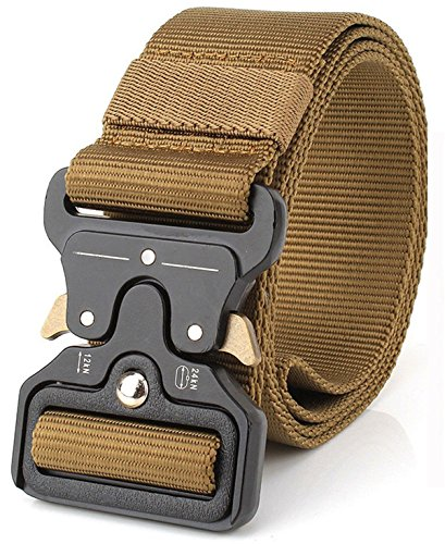(REFINEMMEE MOLLE Tactical Belt CQB Rigger Waistbelt Rappel Battle Adjustable Military Webbing Band Nylon Outdoor Heavy Duty Metal Buckle Mens EDC Belt (43mm Brown))