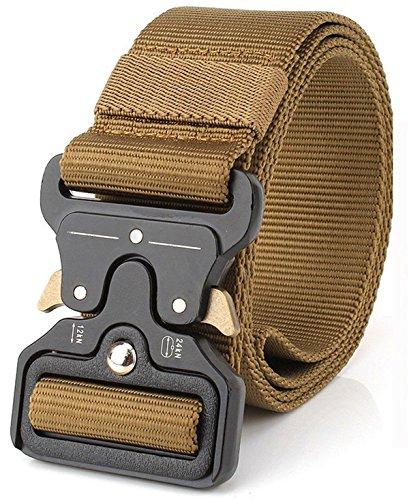 Refinemmee MOLLE Tactical Belt CQB Rigger Waistbelt Rappel Battle Adjustable Military Webbing Band Nylon Outdoor Heavy Duty Metal Buckle Mens EDC Belt (43mm Brown)
