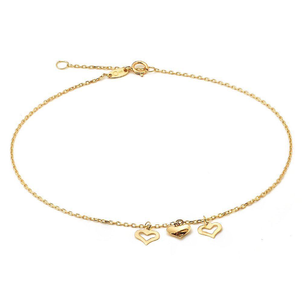 LOVEBLING 10K Yellow Gold .50mm Diamond Cut Rolo Chain with 3 Middle Heart pendants Anklet Adjustable 9'' to 10'' (#3)