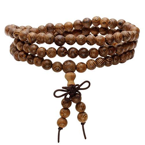 MILAKOO 6mm108 Wood Beads Bracelet/Necklace Mala Prayer Buddha Meditation Link Wrist Bracelet