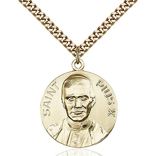 Gold Filled Men's POPE PIUS X Pendant - Includes 24 Inch Heavy Curb Chain - Deluxe Gift Box Included