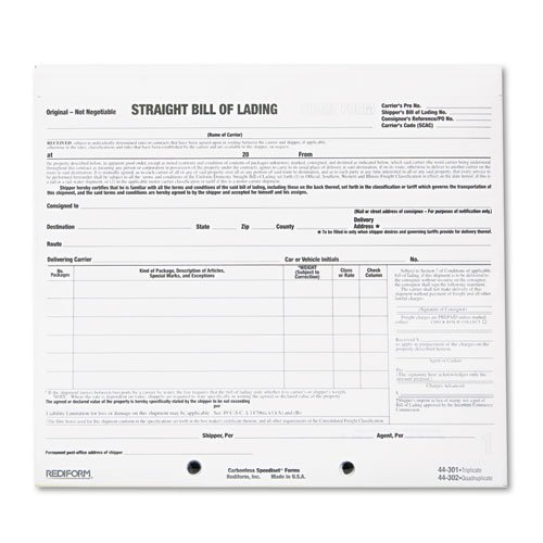 Rediform Bill of Lading Short Form, 8 1/2 x 7, Three-Part Carbonless, 250 - Short Lading Form