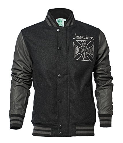 OG Black Wool Grey Cross Baseball Jacket Choppers West Coast EwP1qR