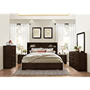 Montana 6-PC Walnut Modern Wood Bedroom Set, King Bed, Dresser&Mirror, 2 Nightstands, Chest