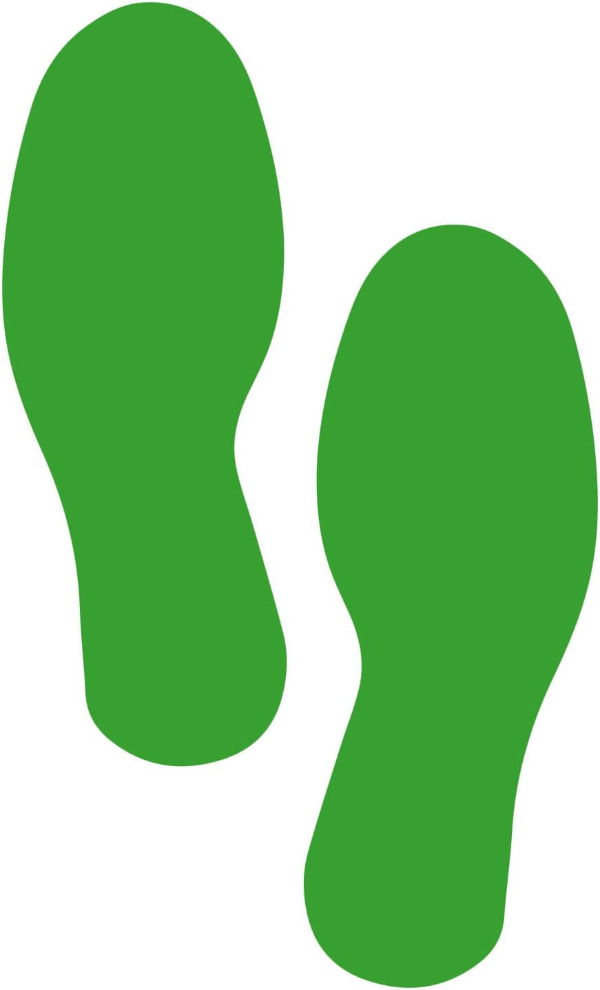 5S Premium 12 inch Footprint Floor Markers 10 pk 5 Yellow Right 5 Green Left