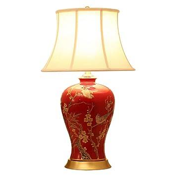 Amazon.com: WCJ Lámpara de mesa estilo chino para dormitorio ...