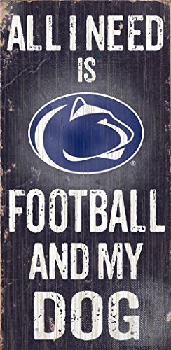 Penn State Nittany Lions Wood Sign - Football And Dog - Outlet Nittany