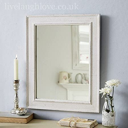 white distressed shabby chic mirror amazon co uk kitchen home rh amazon co uk
