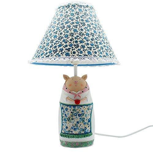 Hai Ying  Cartoon Schwein Katze Kaninchen Dimmer Mini Tischlampen Pastoralen Stoff Kid Bedsides Mini Tischleuchte Baby Zimmer Schreibtischlampe (Schwein)