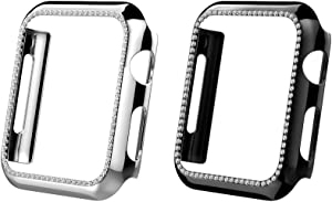 MoKo 2-Pack Protector Case Compatible with Watch 44mm Series 6/5/4/SE, Bling Crystal Diamonds Plate iWatch Case Full Cover Bumper Protective Frame Cover Decoration Accessory - Black & Silver