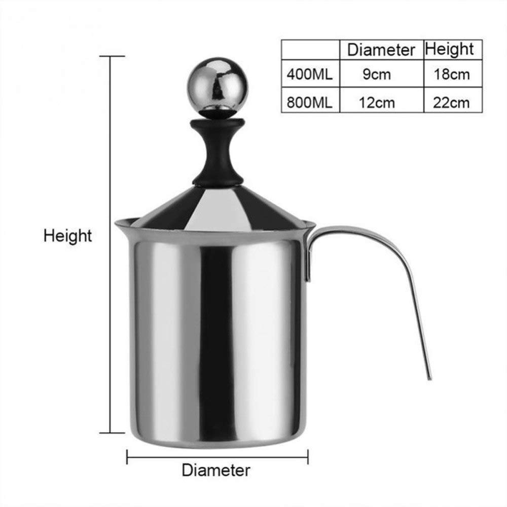 Other Dessert Tools - Durable 400 800ml Stainless Steel Milk Frother Foamer Coffee Cappuccino Manual 290858 - Cup Foam Milk Cappuccino Coffee Pitcher 1 Cappuccino Foam Milk Cappuccino Milk Skele by ATP New Kitchen (Image #4)