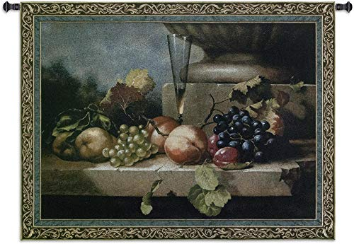 (Grapes of Venice by Riccardo Bianchi | Woven Tapestry Wall Art Hanging | Luscious Fruits with Champagne on Stone Ledge Still Life | 100% Cotton USA Size 74x52)