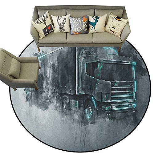 Truck,Outdoor Rugs for patios Greyscale Illustration of a Tractor Trailer with Paint Smears Cargo Delivery D36 Outdoor Floor Mats