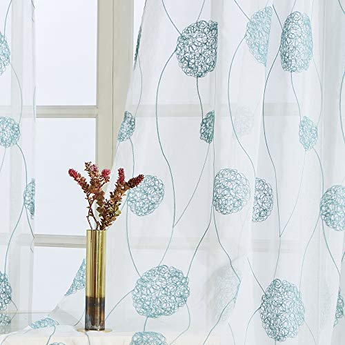 Floral Embroidered Sheer Curtains 63 inch Length Bedroom Flower Embroidery Semi Curtain Sheers Bedroom Nest Design Rod Pocket Window Treatment Set Voile Curtain Panels Aqua Blue on White 2 Panels