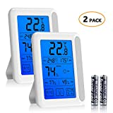 [Newest Design]Pkman™ 2Packs Indoor Digital Hygrometer Thermometer,Humidity Temperature Monitor With Backlight LCD Screen &Touchscreen,Built-in Magnets,Switched Celsius or Fahrenheit …