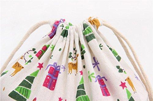 White Bag Christmas Storage Printing Bag Drawstring Bag Tree Beam Travel SMILEQ Gift Port zqEwx7A7f