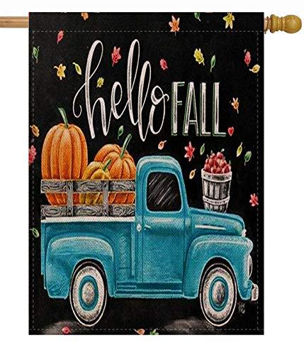 Selmad Hello Fall 28 x 40 House Flag Pumpkin Farm Truck Double Sided Quote, Autumn Leaves Harvest Burlap Garden Yard Décor, Farmhouse Country Seasonal Home Outdoor Vintage Decorative Large - Flag Decorative House