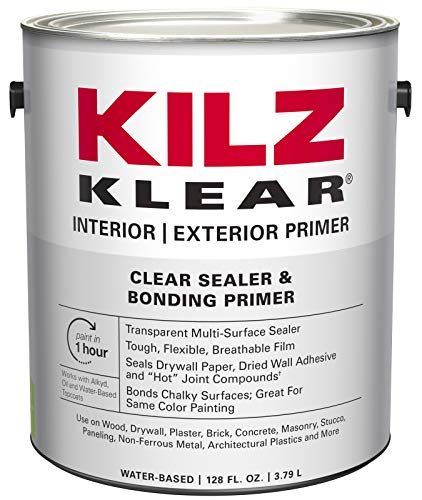 - KILZ L220101 KLEAR Multi-Surface Stain Blocking Interior/Exterior Latex Primer/Sealer, Clear, 1-Gallon, 1 Gallon, 4 l