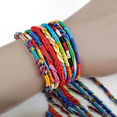 Hellofishly 100PCS Handmade Wrap Bracelets Bangles,Wholesale Jewelry Lot Braid Strands Friendship Cords Handmade Bracelets,Gift for Girls Christmas