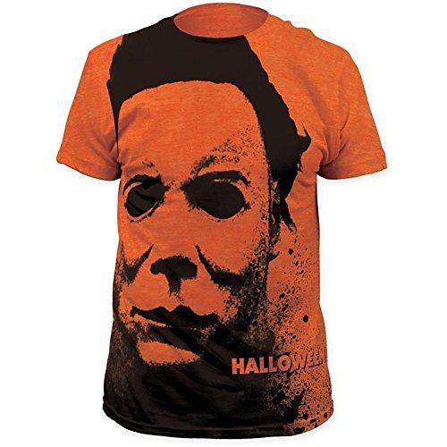Halloween Michael Myers The Shape Mask Men's Heather ORANGE All Over T-Shirt - Myer Brands Mens