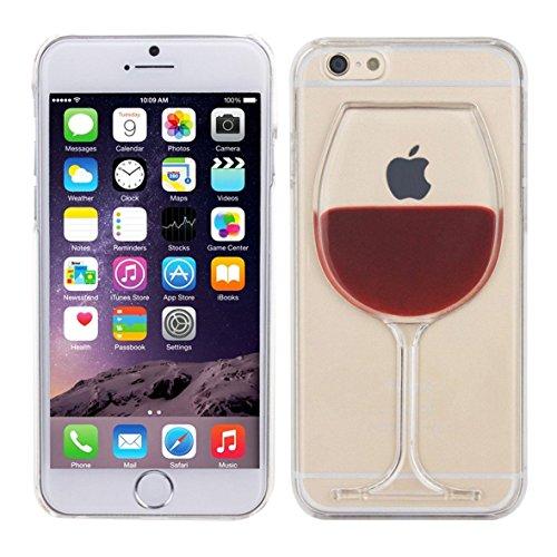 iPhone 6/6S Liquid Hülle von Danura mit Weinglas und flüssigem Inhalt, Flüssiges Case, Glitter Hülle Cool 3D Fließen Flüssig Bling Schwimmend Treibsand Stern Luxus Shiny Case Glanz Shiny Effekt Kristall Crystal Hülle
