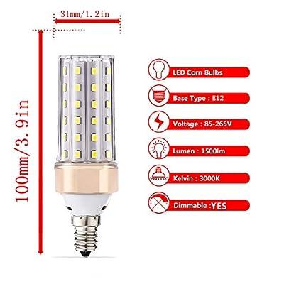 ILAMIQI E12 10W LED Bulbs Dimmable,100 Watt Equivalent, 1200lm, LED Chandelier Bulbs,Ceiling Fan Light Bulb,Tubular, Flicker Free.