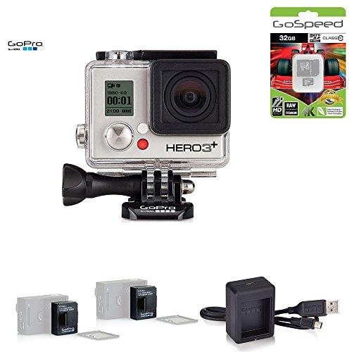 GoPro HERO3+ SILVER 10MP Full HD 1080p 60fps Built-In Wi-Fi Waterproof Wearable Camera Adventure 32GB Edition (Power Bundle)