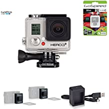 GoPro HERO3+ SILVER 10MP Full HD 1080p 60fps Built-In Wi-Fi Waterproof Wearable Camera Adventure 32GB Edition (Power Bundle)