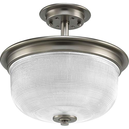 Progress Lighting P2334-81 Archie Two-Light Semi Flush, Antique Nickel