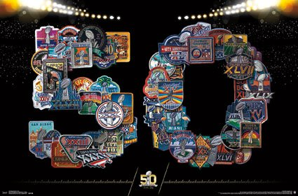 Super Bowl 50 50th Logos NFL Sports Poster 24x36